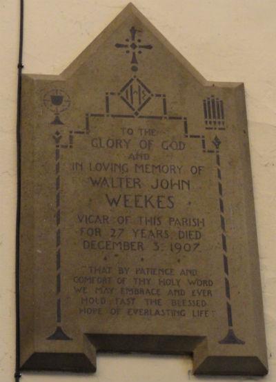 Rev W Weekes Memorial Tablet