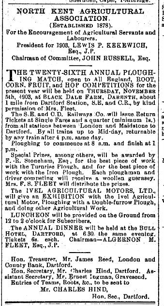 1903 plough match ad 27-10-1903 SE gazette