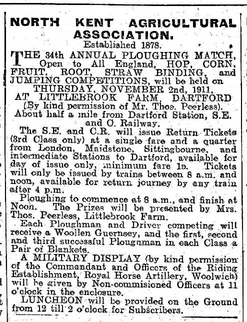 1911 Ploughing Match annoucement