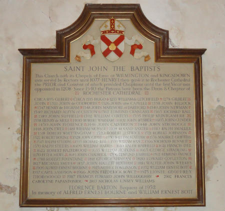 Memorial Board showing the Vicars of Sutton at Hone